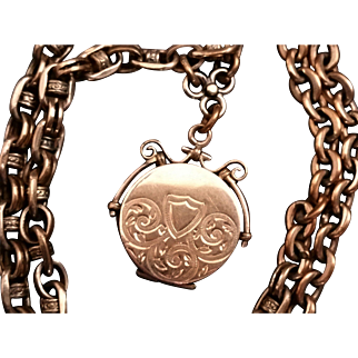 Antique Necklace with Hair Locket Fob on Converted Pocket Watch Chain