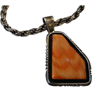 Sam W. Graves Orange Spiny Oyster Sterling Pendant on Rope Chain