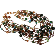 DeMario Faceted and Smooth Glass Bead Necklace w Bullion Spacers