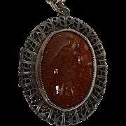 Goldstone Locket Pendant Necklace Vintage Filigree Some Parts Marked Beau Sterling