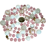 Murano Necklace Pink Sommerso Aventurine Opaline Glass Beads