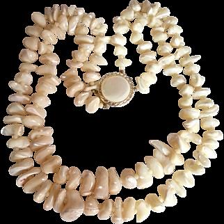 Cream MOP 2 Strand Nugget Necklace
