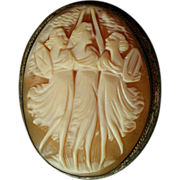 Three Graces Shell Cameo Sterling Pin Brooch or Pendant Nicely Carved - Red Tag Sale Item
