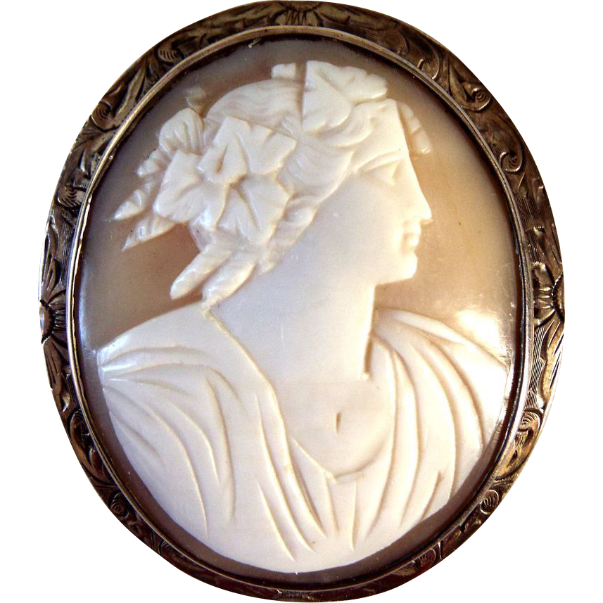 Large Shell Cameo Chased Silver Metal Frame Nice Carving