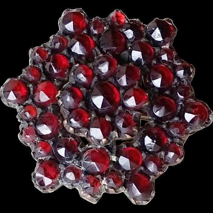 Victorian Rose Cut Bohemian Garnet Pin Hexagon 2 Layer