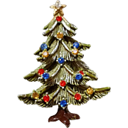 Christmas Tree Pin Signed ©ART Rhinestones Cold Enameled Three Dimensional