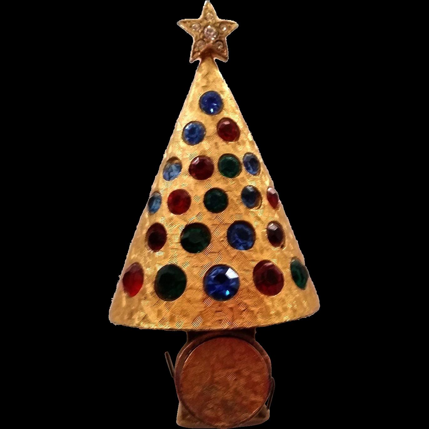 Hattie Carnegie Light Up Christmas Tree Pin 1960s