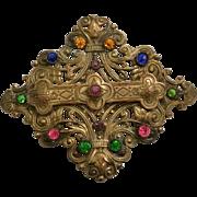 Victorian Era Sash Pin Multi-Color Rhinestones Stipled Filigree