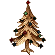 Trifari Christmas Tree Pin Vintage Multi Color Rhinestones