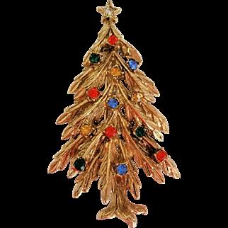 Vintage ART Christmas Tree Pin Multi Color Rhinestones in Gold Tone