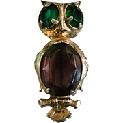 Sterling Vermeil Owl Pin Large Green RS Eyes Purple RS Belly