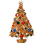 ART Christmas Tree Pin Orange Blue Green Amber Clear Rhinestones
