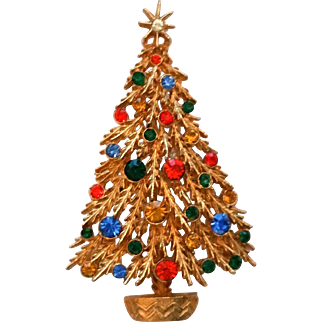 ART Christmas Tree Pin Orange Blue Green Amber Clear Rhinestones