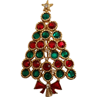 Vintage Green and Red Rhinestone Christmas Tree Pin