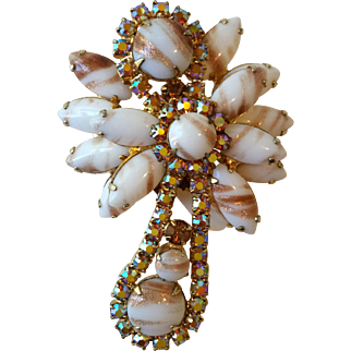 Juliana D and E Stylized Angel Pin Art Glass Rhinestones