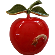 Red Enamel Apple With Worm Pin from Original by Robert Cold Enamel