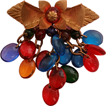Miriam Haskell WWII Unsigned Brooch Pin Blue Green Red Citrine Glass Bead Drops in Gold Tone