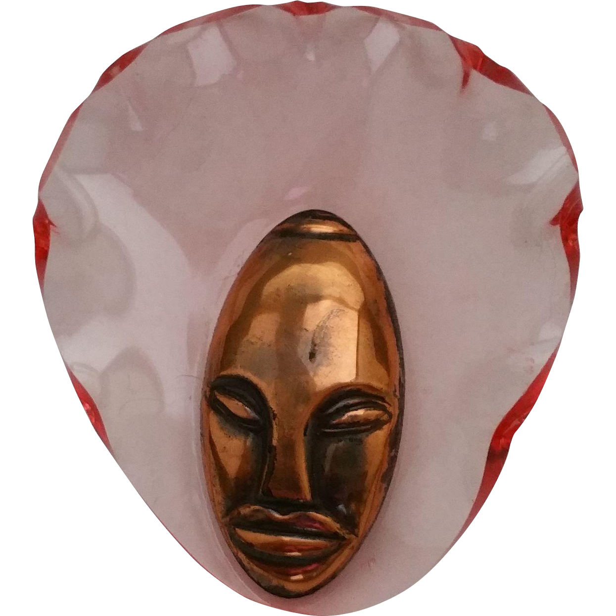 Vintage Elzac Pink Bonnet Head Lucite & Copper Finish Pin Brooch