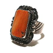 Orange Spiny Oyster Sterling Silver Ring Wide Shank