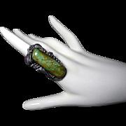 Les Baker Sterling Turquoise Ring w Frank Patania Thunderbird Mark