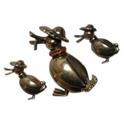 Nordic Sterling Vermeil 3 pc Pin Set Papa Duck with Ducklings Family Frederick Biederbach Designed