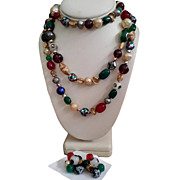 Hattie Carnegie Flapper Bead Necklace ER Set Foiled Art Glass Millifiori