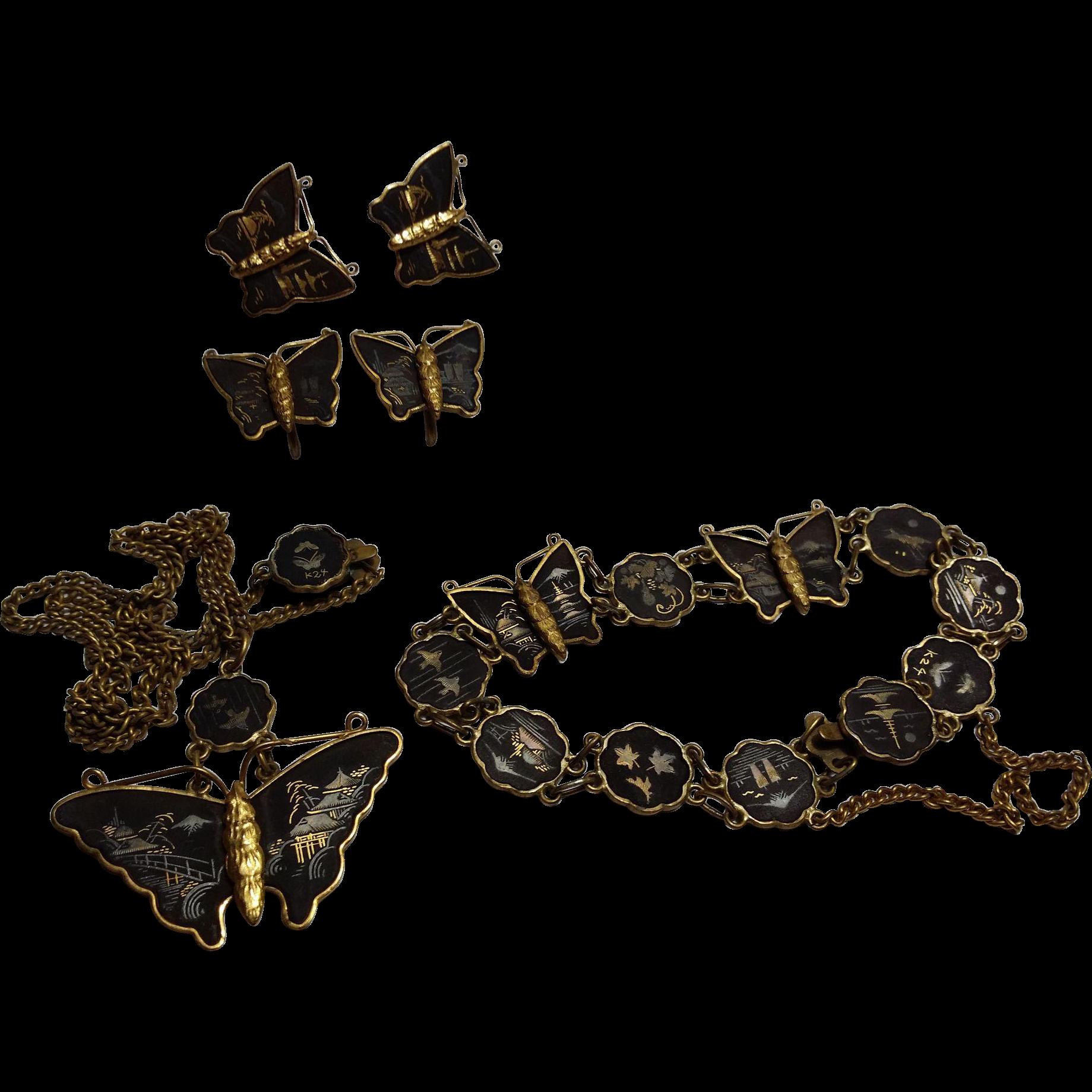 Japanese Damascene Butterfly Parure Necklace Bracelet Earrings Cufflinks 24K SS