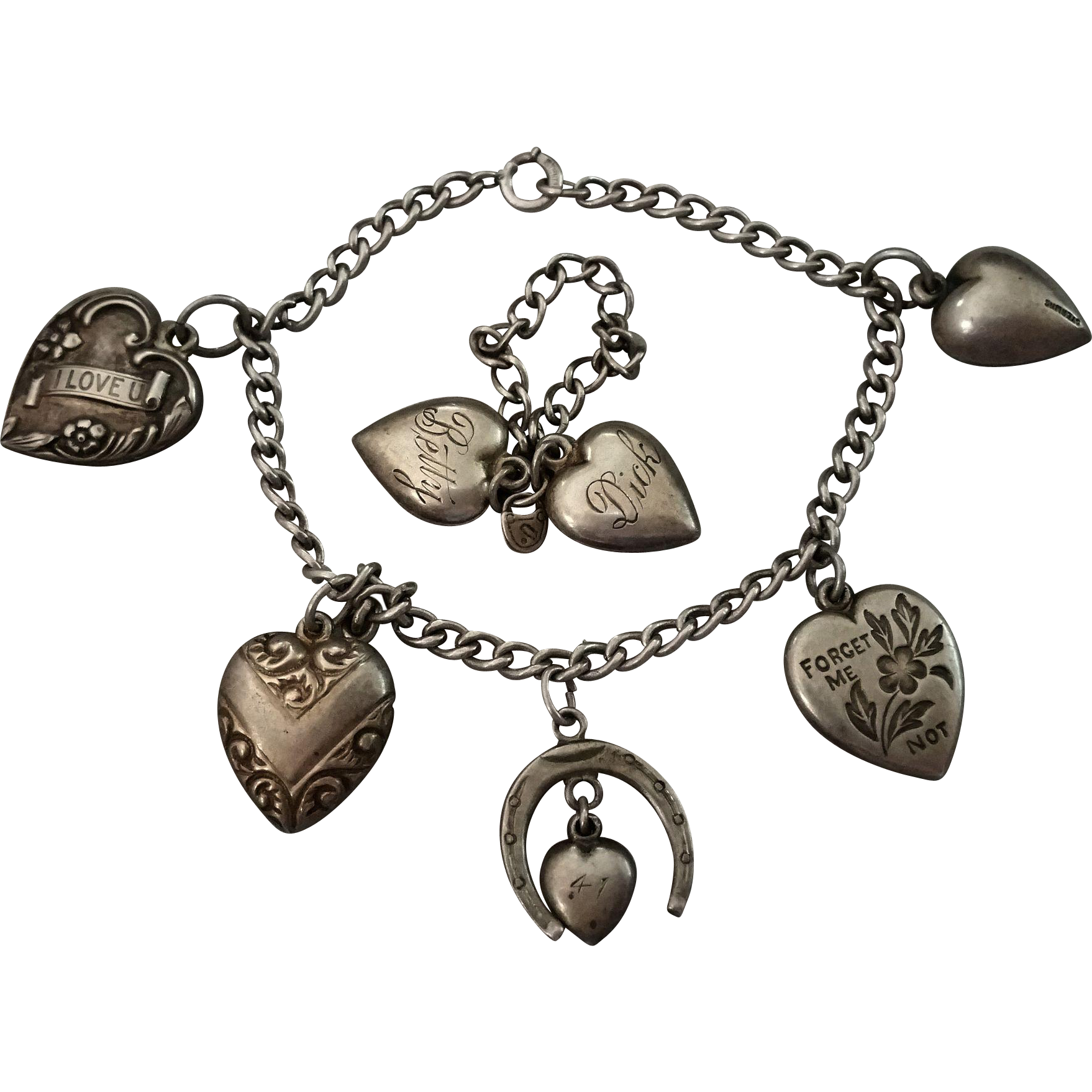 puffy heart charm bracelet and puffy hearts ring on chain 1940s