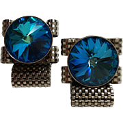 Blue Rivoli Silver Tone Metal Mesh Wrap Style Cufflinks