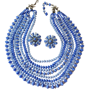 1950s Cornflower Blue 8 Strand Necklace Clip Earrings Set