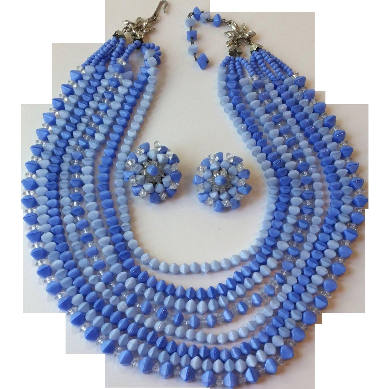 1950s Cornflower Blue 8 Strand Necklace Clip Earrings Set
