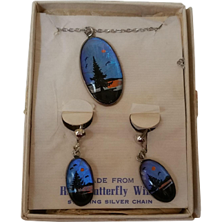 Butterfly Wing Necklace Earrings Set Original Card Orig Box
