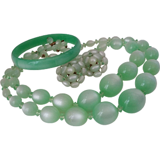 Mint Green Moonglow Lucite 2 Strand Necklace Clip Earrings Go With Bangle