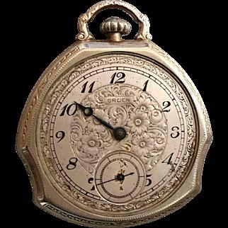 Gruen Guild Triad Shape 14K GF Pocket Watch 17 Jewels w/ 3 adj Shape Patented in 1924