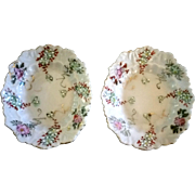 Pair Oval Fancy Edge Butter Pats Handpainted & Moriage on Porcelain