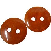 Pair Bakelite or Catalin Large Hole Marbled Coat Buttons
