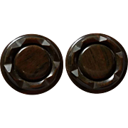 Pair of Deep Carved Brown Marbled Bakelite Coat Buttons 1 5/8 Inch diameter Metal Shank