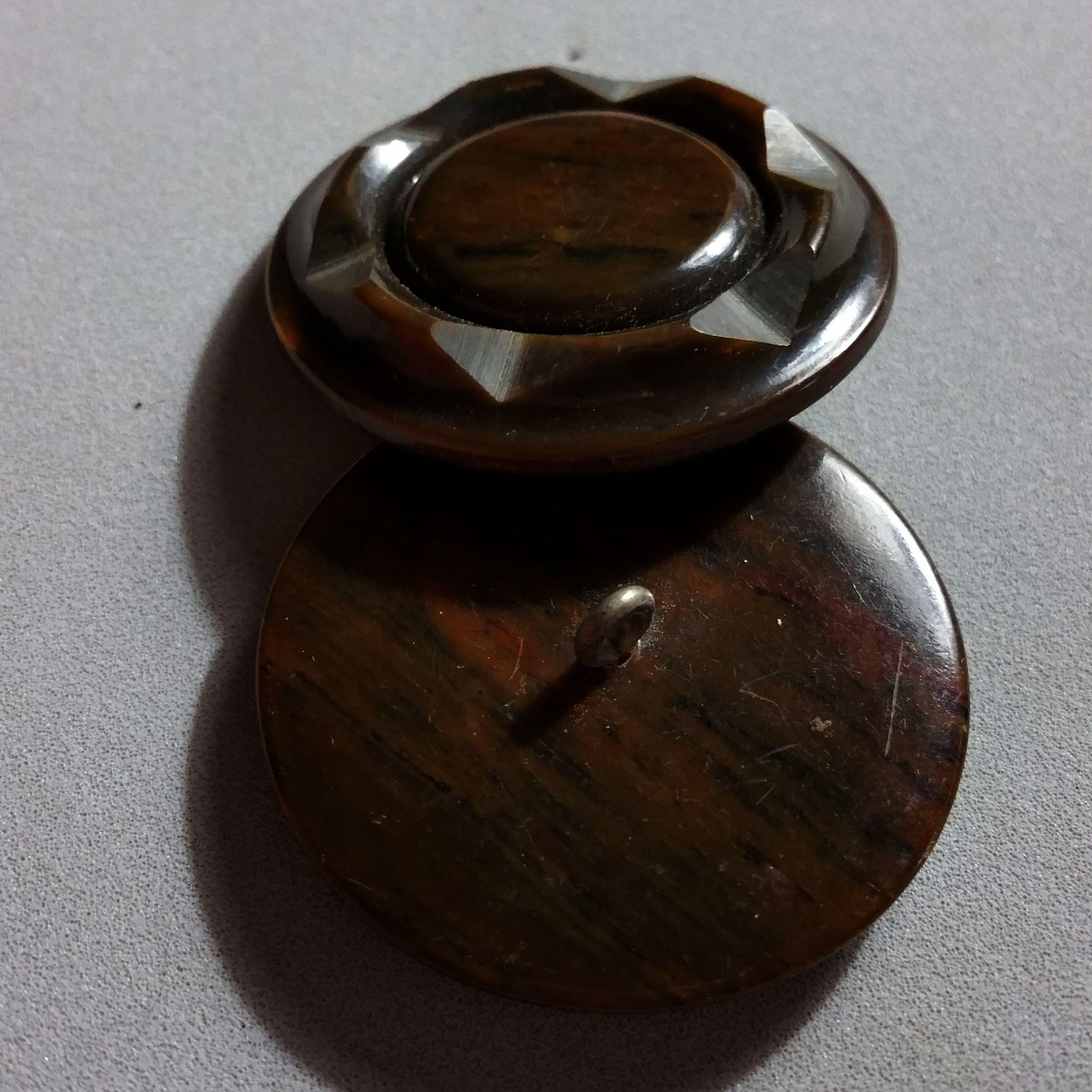 Pair of Deep Carved Brown Marbled Bakelite Coat Buttons 1 5/8 Inch ...