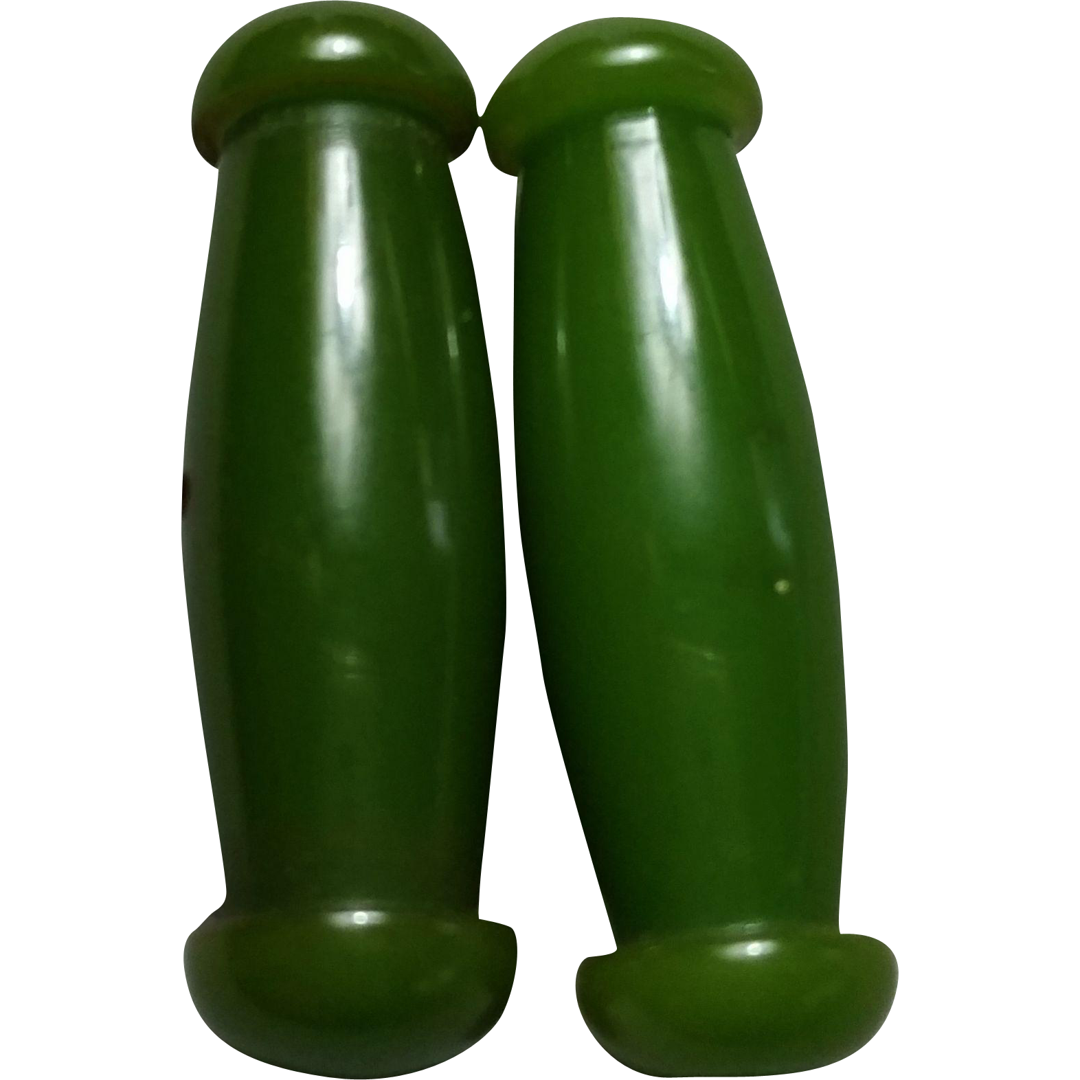 Pair Green Bakelite Shaped Toggle Buttons 1-5/8 inch Long ½ inch diameter  Sew Thru