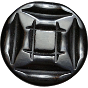 Deep Carved Black Bakelite Coat Button Deco Era Thick with Metal Loop Shank
