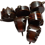 6 Bakelite 3 Layer Laminated Buttons Root Beer Prystal and Carved Chocolate Brown