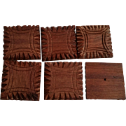 Carved Square Wood Buttons Metal Loop Shank