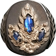 Vintage Bakelite Jeweled Carved Button Black Sapphire Blue Marquis Rhinestones Silvertone Mountings