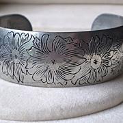 Floral Engraved Pewter Cuff Bracelet, Signed