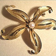 Gold-Filled Floral Brooch,  Signed Wells