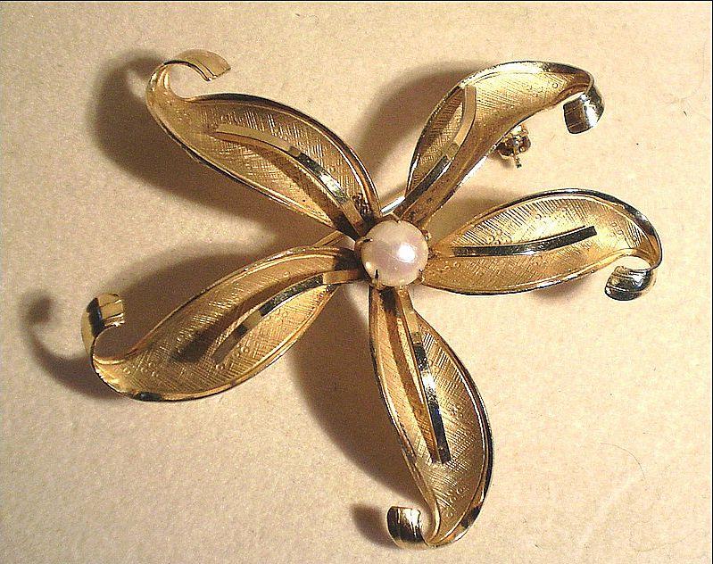 Gold-Filled Floral Brooch,  Signed Wells