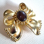 Large Bow Brooch with Scarab Center, Signed