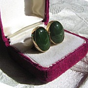 Jade Green Glass Napier Earrings, Gold-Filled