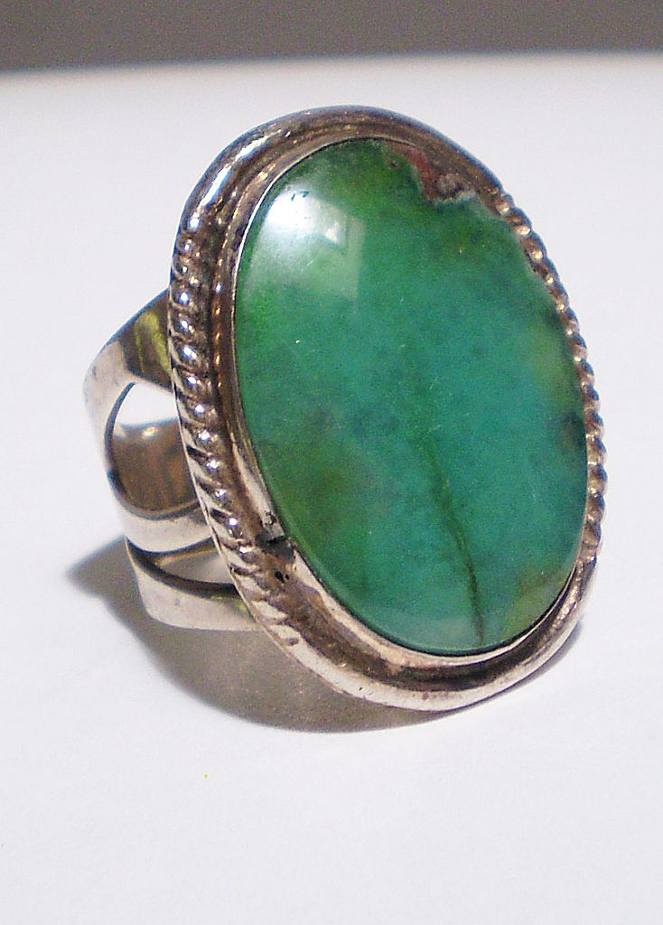Large Turquoise & Sterling Ring Signed DRT
