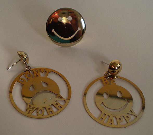 Smiley Face Earrings & Ring Set